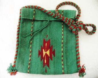 Vintage 1970s Mexican Southwest Woven Wool Hippie Shoulder Bag