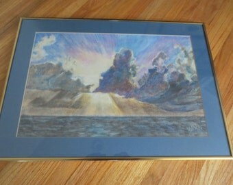 """ORIGINAL PASTEL DRAWING Signed W M 1981 Storm Over The Ocean Matted In Blue Framed In A Goldtone Metal Frame 16"""" x 22 1/4"""""""