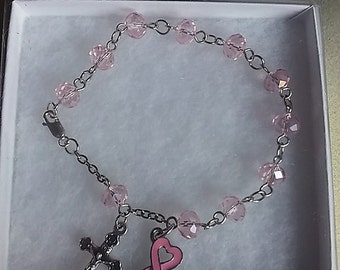 Breast Cancer Rosary Bracelet