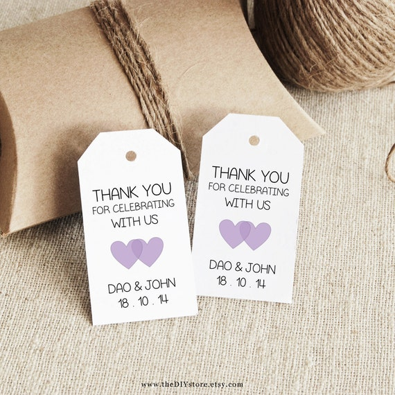 Favor Tag Template, Lavender, Printable SMALL Double Heart Design, Wedding Tag, Gift Tag - Wedding Labels - Hang Tags, DIY Digital Printable