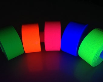 "5 Roll Pack UV Neon Gaffers Tape 1"" 30 ft Rolls ALL Colors"