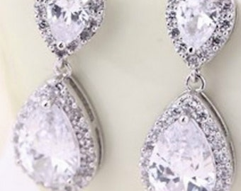 "PAIR Small Dangle Crystal Vintage Silver Wedding Prom gauges plugs tunnels earrings 2g 0g 00g 7/16"" 1/2"" 6mm 8mm 10mm 11mm 12mm"