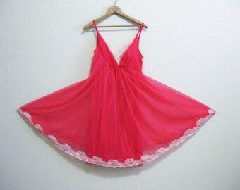 Pink Chiffon Nightgown Medium Shadowline Lace Hem