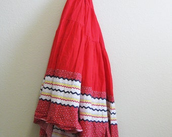 Boho Red Circle Skirt Peasant Square Dance Small Medium