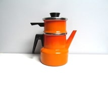 Vintage retro enamel steamer pot with lid, 2 piece with lid, coffee pot, kettle, orange red enamel, Asta France, French kitchen decoration