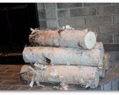 "Large Fireplace White Birch Logs Set ( 5 logs 3""-5"")"