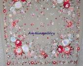 SALE - Hand embroidered wedding flamenco silk piano shawl, mantones, 30.00 off