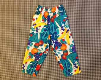 1980's, cropped, brightly colored, fruit print, pants, by Palmetto's, Women's size Small