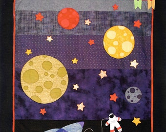 Outer space quilt etsy for Outer space quilt patterns