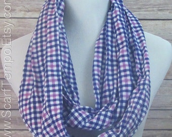Scarf, infinity Scarf, Checkered Scarf, Blue and purple  Scarf.  Infinity Scarf. Scarf.loop Scarf.Circle Scarf. Infinity Scarf.