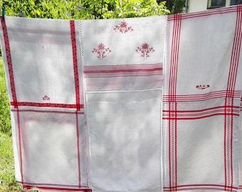 Big Handmade Patchwork Scandinavian Linen Bedspread/Tablecloth made from 11 vintage kitchen towels.