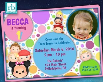 Tsum Tsum Birthday Invitation, Tsum Tsum Party, Tsum Tsum Photo Invitation, Tsum Tsum Printables, Digital Printable Invitations