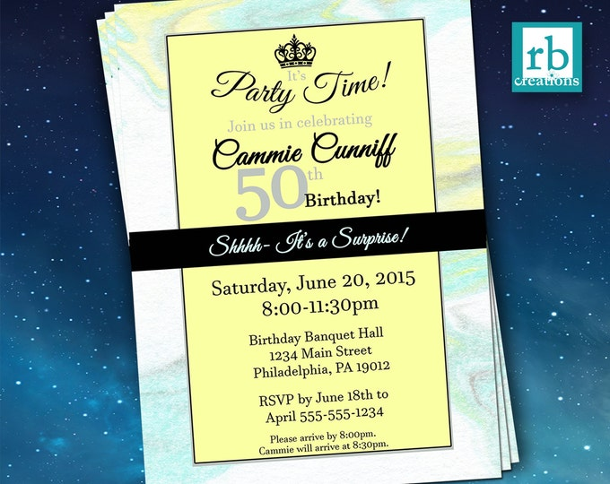 Surprise Party Invitations, Surprise Birthday Invitation, Surprise 50th Birthday Invitations, Adult Birthday Invitations - Digital Printable