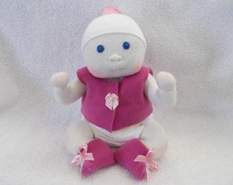 "12"" Preemie Baby Girl Doll Handmade cloth soft sculpted Waldorf Inspired Bald embroidered Blue eyes stuffed plush Newborn Christmas booties"