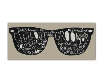 Grooms Poolside Party Ray Bans Chalkboard: Digital Printable Design Customized
