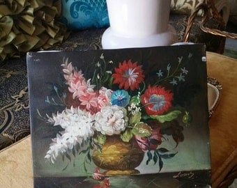 """BEAUTIFUL Signed Original Victorian Shabby Floral Daisy Chrysanthemum Hollywood Regency Oil Painting ~8""""X10"""""""