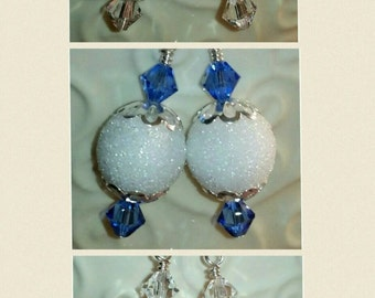 ON SALE Snowball Earrings