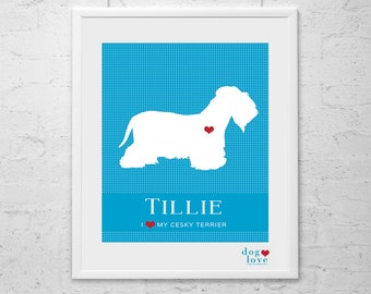 Cesky Dog Silhouette - Personalized 8x10 Dog Art Print
