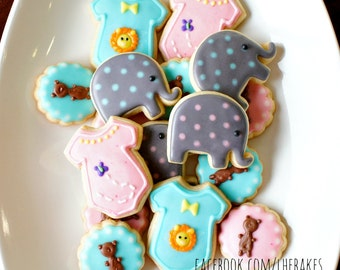 16 pcs MINI Baby Shower / Gender Reveal Decorated Sugar Cookies - Lion, Bear, Elephant, Butterfly - Birthday Favors, Customize