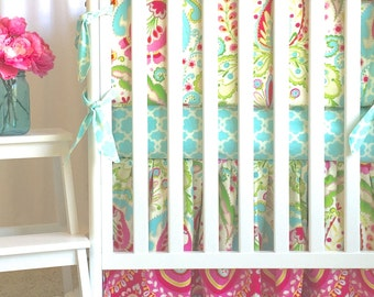 Kumari Garden, Custom baby bedding, Baby girl bedding, pink baby bedding, crib set,