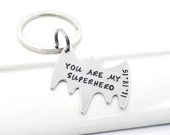 You're My Superhero Batman Keychain Personalized with Date