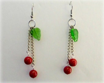 Cherry Drop Style Earrings with Leaf