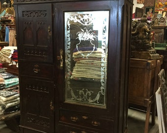 Antique Armoires Hand Carved Rosewood Etched Mirror Vintage Calcutta Cabinet Rustic Indian Furniture 18c