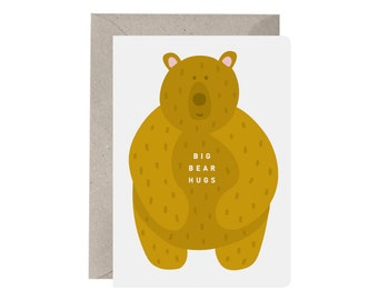 Greeting Card – Big Bear Hugs. Love. Friendship. Thinking of You card. Sympathy cards. Recycled. Bear card. Hug card.