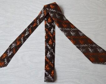 Vintage 1960s Brown Orange and White Silk Poseidon Tie