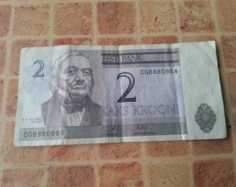 2 Kroon of Estonia issued in 1990s.