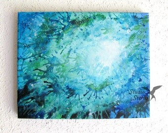 Original acrylic painting canvas abstract 30x20cm 11x9 inch blue colour white effect center glow green water sea ocean lake