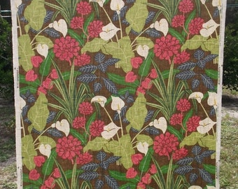 FABRIC SALE Retro Robert Allen Tropical Jungle Linen Decorator Fabric 56x36