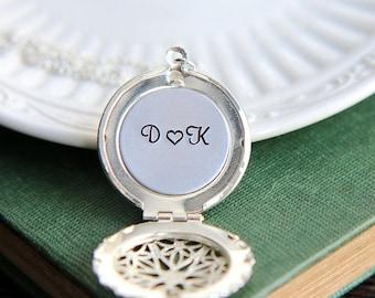 SALE Personalized Locket, Locket Pendant, Personalized Locket Necklace, Locket necklace, Personalized Jewelry, Bridal Shower Gift,Initial Je