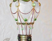 Decorative Ornament Frost White Stained Glass Light Bulb Hot Air Balloon with Green Cabochons Holiday Christmas