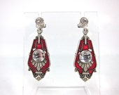 SUMMER SALE-Vintage Catherine Popesco Art Deco Style Red Enamel, Sterling Silver And Swarovski Crystal Dangle Earrings-Made In France