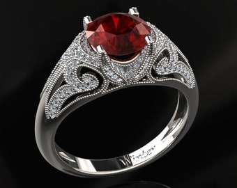 Ruby Engagement Ring Ruby Ring 14k or 18k Black Gold VS1RUBYW