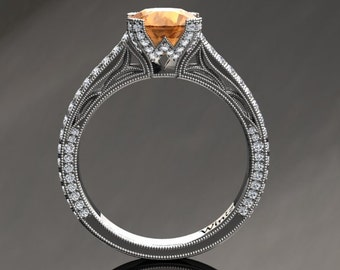 Citrine Engagement Ring Citrine Ring 14k or 18k White Gold Matching Wedding Band Available SW9CITRW