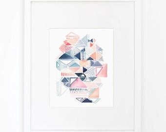 Triangle Waltz - Watercolor Art Print