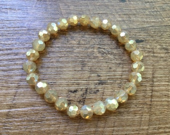 Faceted Stackable Stretch Bracelet, Creamy Honey Beads