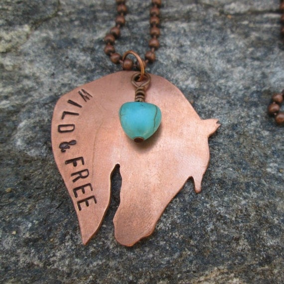 Stamped Copper Western Horse Charm Necklace