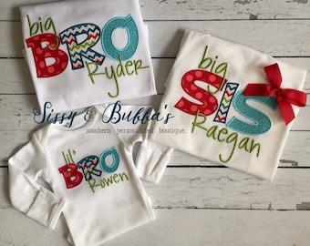 Personalized Big Sis Big Bro Lil Sis Lil Bro Appliqué Shirt, boy, girl, sibling, gender, matching, coordinating, monogrammed, monogram