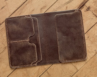 Passport Wallet - Hand Stitched Leather Notebook Wallet in Stone Brown CF Steads Distressed Wax Finished Sude - Mocha Stitching