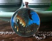 NECKLACE, Dark Age, medieval castle, fire, flames, Dragon, night, sky, Black, Blue, smoke, fairytale, fantasy art, painting by Rachel Walker