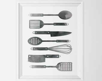 Black Watercolor Kitchen Utensils Art Print Spoon Spatula Whisk Knife Painting Minimalist Digital Poster Instant Download Wall Art Printable