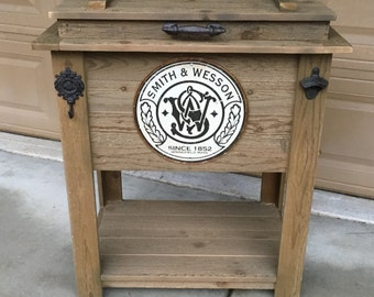 Rustic Wooden Cooler Is Great For A Man Cave, Outdoor Bar Cart Or Ice Chest