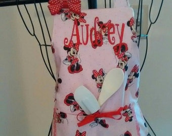 Toddler Minnie Mouse Apron/Child Apron/Pockets/Pink/Personalized
