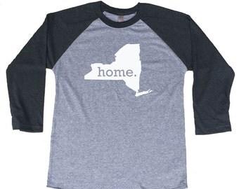 Homeland Tees New York Home Tri-Blend Raglan Baseball Shirt