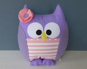 Owl Pillow - Lavender & Pink