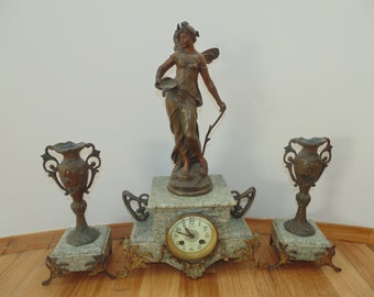 Free Shipping Extremely RARE Antique French Art Nouveau 1900's Aug. Moreau La Libellule Figural Green Marble Mantle Shelf Working Clock Set