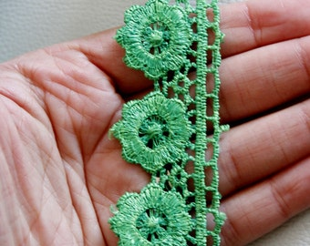 Green Embroidered Flower Lace Trim, Approx 32mm wide - 140316L48
